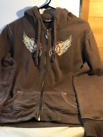 Women's Harley Davidson Brown Hoodie Large