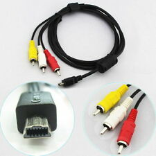 USB 10 Pin to 3 RCA Stereo AV Cable for Canon EOS 60D 7D Rebel T2i T3i IXUS115HS
