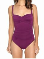La Blanca Womens Swimwear Purple 10 Ruched Twist Bandeau One Piece $109- 497