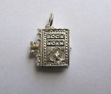 925 Sterling Silver opening book worm charm