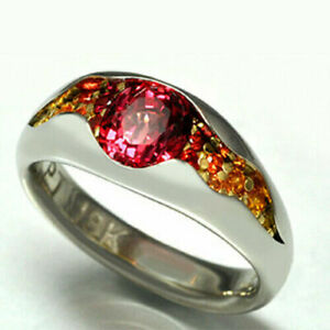 Women 925 Silver,Gold Wedding Ruby Engagement Rings Fashion Jewelry Size 6-10