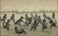 Cat Fantasy Playing Field Hockey - Unsigned Louis Wain c1910 Postcard jrf