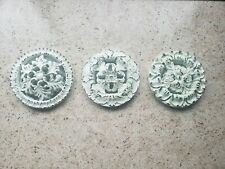Set of 3 Small White Distressed Wall Mirrors Home Decor