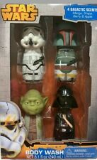 Star Wars Body Wash Gift Set 4 Pack Yoda Boba Fett Darth Vader Storm trooper NEW