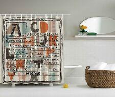 Colorful Alphabet Graphic Shower Curtain ABC Letters Kids Digital Print Curtain