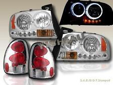 1998-2003 DODGE DURANGO TWIN HALO HEADLIGHTS CHROME LED + TAIL LIGHTS CHROME