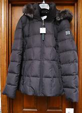 NWT Calvin Klein Faux-Fur-Trim Hooded Puffer Down Coat size M  Dark Charcoal
