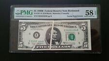 "1969B $5 Frn Gutter Fold Error ""Richmond"" Pmg Choice / Au 58 Epq"