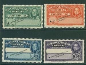 Uruguay circa 1910, 4 fiscal or tax stamps, WATERLOW SPECIMEN overprint