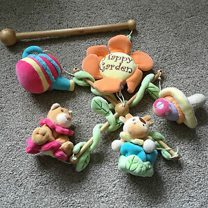 IANA DESIGNER HAPPY GARDEN BABY COT MOBILE MUSICAL LADYBIRD TOADSTOOL COW BEAR