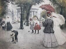 MANUEL ROBBE-French Modernist-Signed Color Aquatint-Promenade Au Parc Manceau
