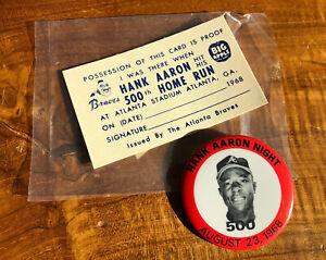 Original 1968 Atlanta Braves Hank Aaron Hit 500th Home Run Card & Pin