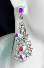 "2.75"" Brilliant! AB Silver Crystal Earrings, Drag Queen, Prom, Pageant, Bridal"