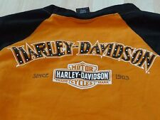 Womens Long Sleeve Top Small(fits like X-Small),Authentic HarleyDavidson,Org/Blk