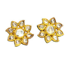 Solid Yellow Gold 1.66ct Rose Cut Polki Diamond Flower Stud Earrings NEW ARRIVAL