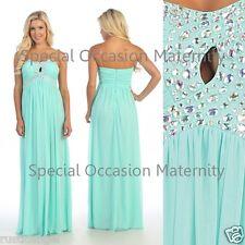 NEW Long Mint Chiffon Strapless Jewels Formal Maternity Dress SMALL Special Hot