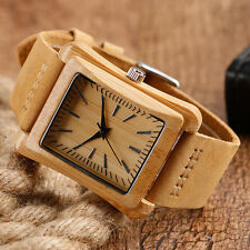 Holz Uhr Herren rechteckig Bambus hölzerne Quarz Uhr Natürlicher handgemacht