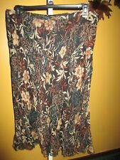 Kate Hill Brown Floral Print 100% Silk Skirt  14    A-line