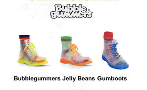 GumBoots Womens/Kids Jelly Beans Transparent PVC Lace Up GumBoots Yellow+Socks