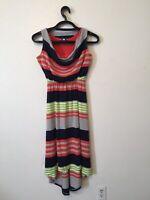 Alyx Striped Dress High Low Blue Gray Orange Womens Size S