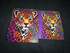 2 pc lot Lisa Frank HUNTER LEOPARD Sparkle Glitter Folder & Composition notebook