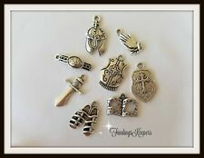 Armor Of GOD Charm Set Antique Silver Metal Biblical Religious US Seller ts020