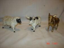 Lot Of 3 Vintage Cast Iron Still Banks Farm Animals Sheep Bull Donkey