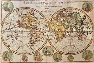 1740 WORLD MAP MAPPE MONDE ORIGINAL MAP BY DE FER