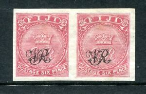"Fiji 1876 ""VR"" overprint on 6d. dull rose (laid paper) imperf. pair fine mint"