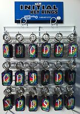 New Nickel Plated Tie Dye Initial Key Chain 216 Pieces on Rack Modern USA Made