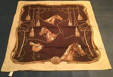 Equestrian Horse Head Leathers Saddles & Whips Brown Scarf