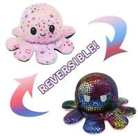 NEW Reversible Octopus Flip Sided Plush Soft Plush Simulation Doll Toy Emotional