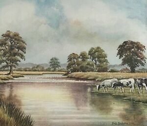 ERIC OSBORNE: Painting Cattle at Waters Edge Signed Dated Framed