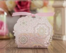 50PCS Candy Box Paper Gift Boxes Wedding Party Favors Ribbon Bags Baby Shower