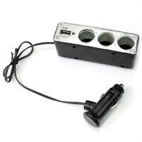 3 Fach KFZ Auto Zigarettenanzünder Steckdose Verteiler Buchse Adapter +USB HHJ