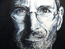 Original Painting Steve Jobs Face Portrait Glasses Apple iPhone ACEO Art