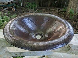 Native Trails CPS286 Maestro Lotus Copper Drop-in Bathroom Sink, Antique