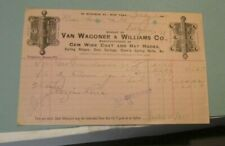 1891 Van Wagoner & Williams Co. Advertising Billhead New York Coat and Hat Hooks