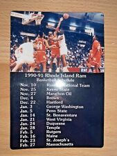 1990-91 RHODE ISLAND RAMS BASKETBALL MAGNET SCHEDULE SKED