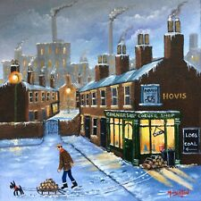 MAL.BURTON ORIGINAL OIL PAINTING.  HOME WITH THE LOGS BOY NORTHERN ART DIRECT