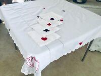 Vintage White Cotton Tablecloth w/Matching Napkins Set, Poker, Bridge Card Games