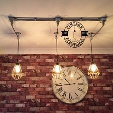 INDUSTRIAL 3 X CAGE HANGING CEILING TABLE LIGHT FITTING VINTAGE + E27 LAMPS