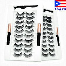 Waterproof 10 Pairs Magnetic Eyelashes Set Double Magnet Eyeliner & Tweezer