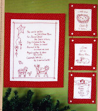 PATTERN - Christmas Prayer - wonderful Christmas redwork stitchery PATTERN
