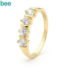 3.5mm Simulated Diamond 9k 9ct Solid Yellow Gold Ring Size P 7.75 22083