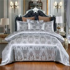 Luxury 3 Pieces Duvet Cover Pillowcases Queen King Satin Jacquard Bedding Set //
