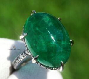 Emerald Ring Gold Diamond Natural Zambian 16.02CTW GIA Certified RETAIL $14900