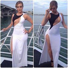 elegantes Kleid Abendkleid lang Cut Out weiß schwarz hoher Seitenschlitz Gr. M