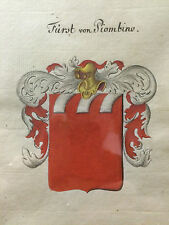 18th Century German Watercolor Armorials, Royal Coat of Arms, Framed