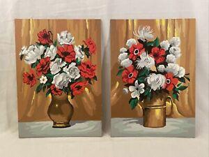 "Pair / Set Vintage PBN RETRO Still Life Floral Paintings 10x14"" Poppies Mumms"